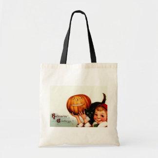 Vintage Halloween Boy and Black Cat Tote Bag