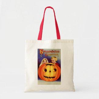 Vintage Halloween Boy and Girl Tote Bag