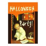 Vintage Halloween Boy Candle Pumpkin Orange Brown Custom Announcement