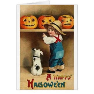 Vintage Halloween Boy, Puppy and Jack-o-lantern Card