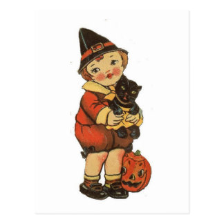 Vintage Halloween Boy With Cat Postcard