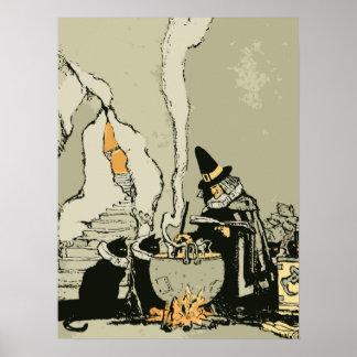 Vintage Halloween, bruja con la caldera y los Póster