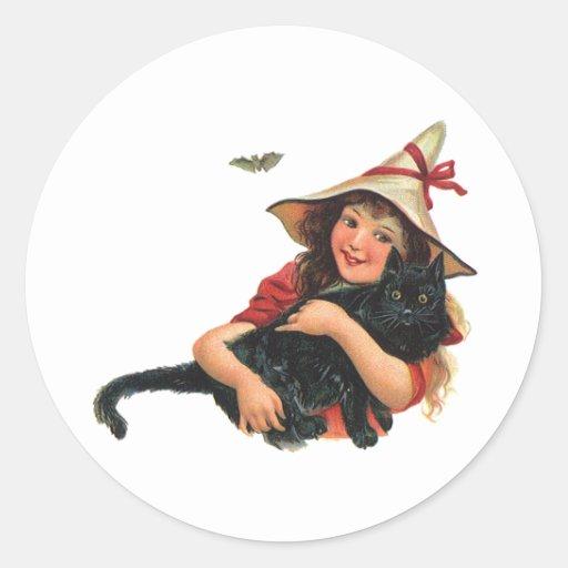 Vintage Halloween, bruja del chica con el gato Pegatina Redonda