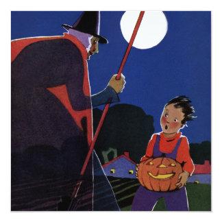 Vintage Halloween, bruja espeluznante con el Invitación 13,3 Cm X 13,3cm