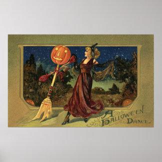 Vintage Halloween, bruja hermosa del baile Póster