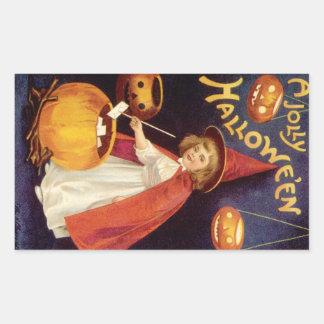 Vintage Halloween, bruja linda del chica con las Pegatina Rectangular