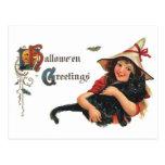 Vintage Halloween, bruja linda y gato