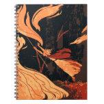 Vintage Halloween, bruja malvada con el fuego en Libreta