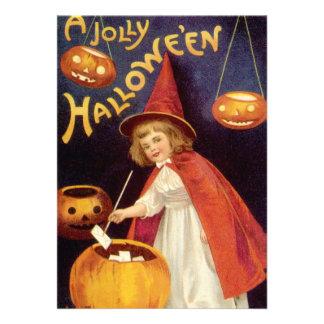 Vintage Halloween calabazas de las linternas de J Invitación Personalizada