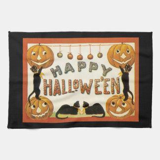 Vintage Halloween, calabazas retras de los gatos Toallas De Mano