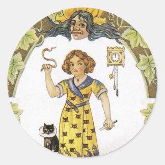 Vintage Halloween Card Classic Round Sticker