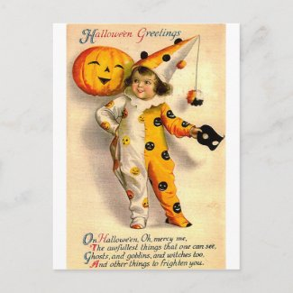 Vintage Halloween Card Costumed Girl and Pumpkin