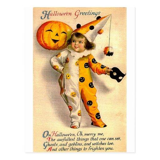 Vintage Halloween Card Costumed Girl and Pumpkin Postcards