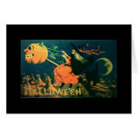 Vintage Halloween card, Witch on broom, pumpkin