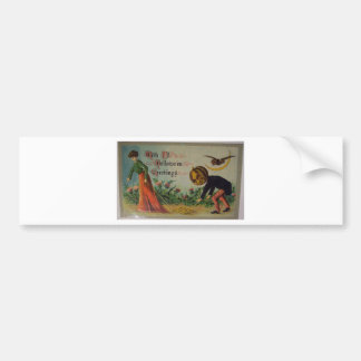 """vintage halloween card """"with all greetings"""" bumper sticker"""