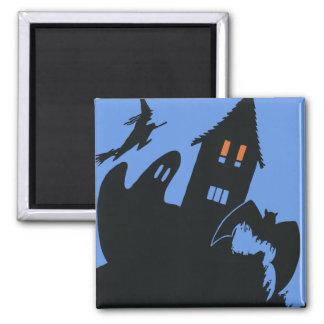 Vintage Halloween, casa encantada asustadiza y Imán Cuadrado