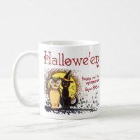 Vintage Halloween Cat and Owl Coffee Mug