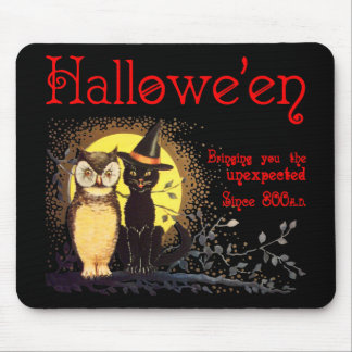 Vintage Halloween Cat and Owl Mousepad