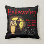 Vintage Halloween Cat and Owl Pillows