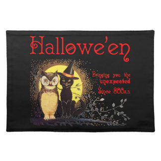 Vintage Halloween Cat and Owl Placemat
