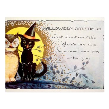 Halloween Themed Vintage Halloween cat and owl postcard