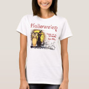 Vintage Halloween Cat and Owl Women's Shirts