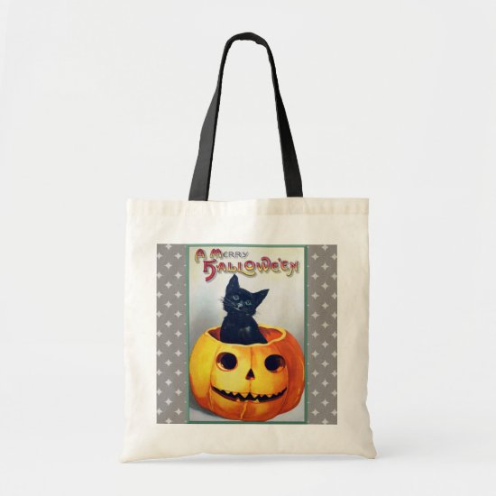 Vintage Halloween Cat and Pumpkin Tote Bag