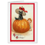 Vintage Halloween Cat Card