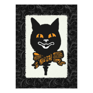 Vintage Halloween Cat Decoration 5.5x7.5 Paper Invitation Card
