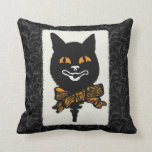 Vintage Halloween Cat Decoration Throw Pillow