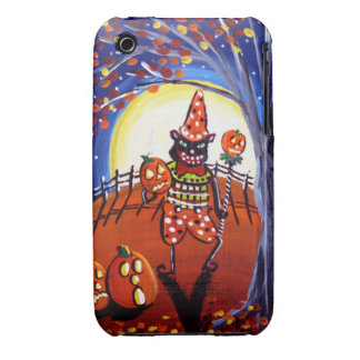Vintage Halloween Cat Full Moon iPhone Case