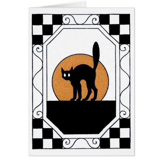 Vintage Halloween Cat Greeting Card