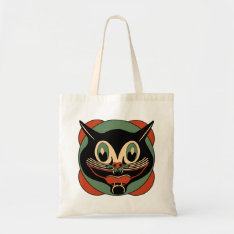 Vintage Halloween Cat Grocery Tote Bag at Zazzle