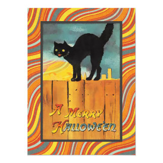 Vintage Halloween Cat Personalized Invitation