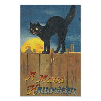 Vintage Halloween Cat on Fence Poster