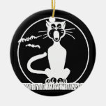 Vintage Halloween Cat Double-Sided Ceramic Round Christmas Ornament