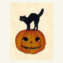 Vintage Halloween Cat Postcard