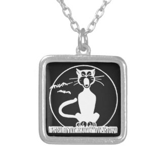 Vintage Halloween Cat Silver Plated Necklace