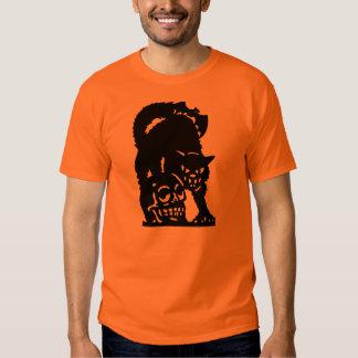 Vintage Halloween Cat & Skull Shirt