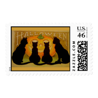 Vintage Halloween Cats and Jack O Lantern Postage Stamp