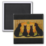 Vintage Halloween Cats and Jack O'Lantern 2 Inch Square Magnet