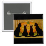 Vintage Halloween Cats and Jack O'Lantern 2 Inch Square Button