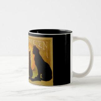 Vintage Halloween Cats and Jack O'Lantern Coffee Mug