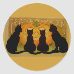 Vintage Halloween Cats and Jack O'Lantern Classic Round Sticker