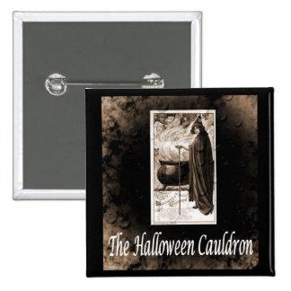 Vintage Halloween Cauldron Pinback Button