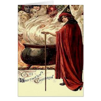 Vintage Halloween Cauldron Magic Card