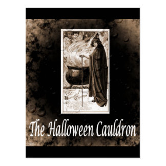 Vintage Halloween Cauldron Postcard
