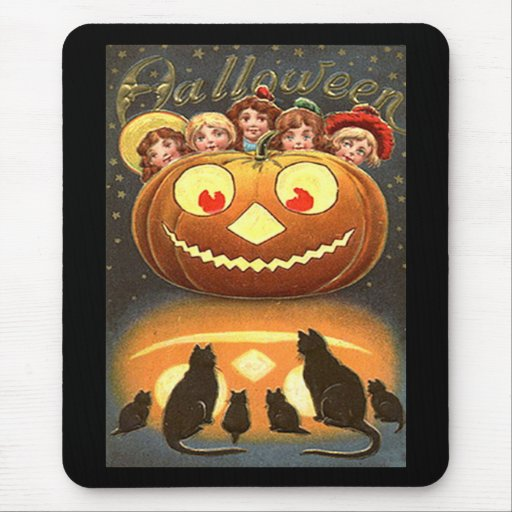 Vintage Halloween Children and Cats Mouse Pads