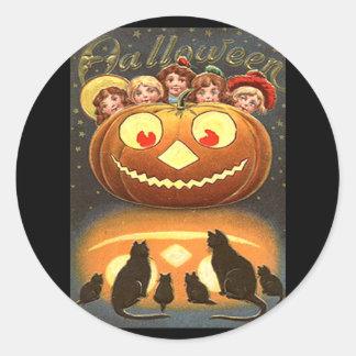 Vintage Halloween Children and Cats Round Stickers