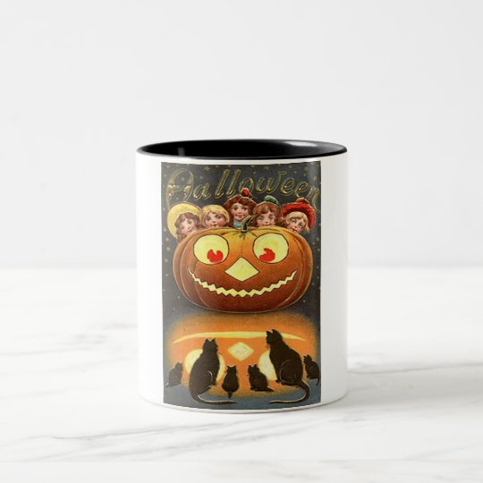 Vintage Halloween Children and Cats Two-Tone Coffee Mug